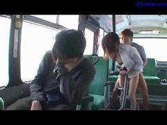 Bus, Office, Facial, Sleepy chick in glossy pantyhose getting her