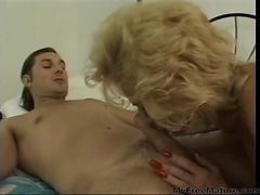 Granny, Cumshot, Mature, Mom and boy in kitshem