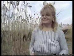 Granny, Cumshot, Mature, Mom and boy in front of father